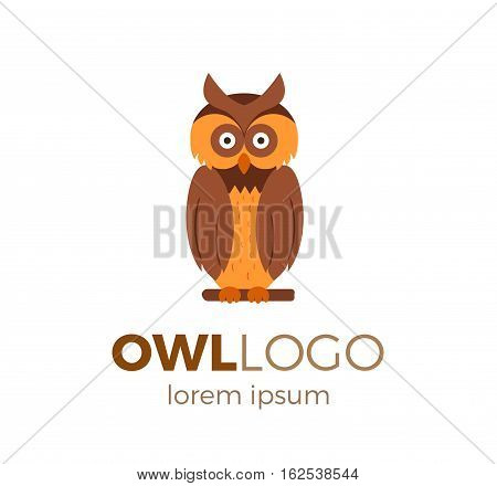 Flat vector owl logo isolated on white background. Colorful illustration of forest owl for your company logo or label. Flat style European forest animal collection