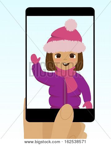 Smartphone summer photo. Cute cartoon girl with ice cream cones. Fun happy kid carries a lot of ice cream. Illustration of taking photo on smartphone of joyful child with ice cream.