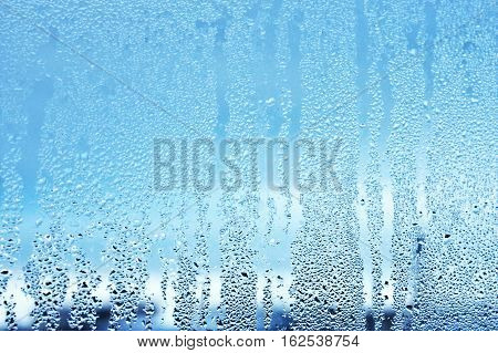 Window Glass In The Condensate In The Cold Currents Of The Water Drops Background