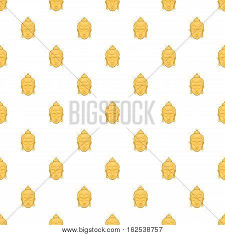Buddha statue pattern. Cartoon illustration of buddha statue vector pattern for web