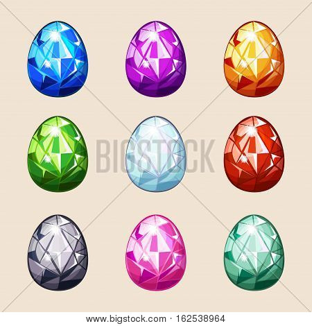 cartoon Colorful crystal Easter eggs in vector game elements