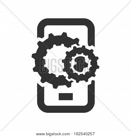 phone with gears on a white background