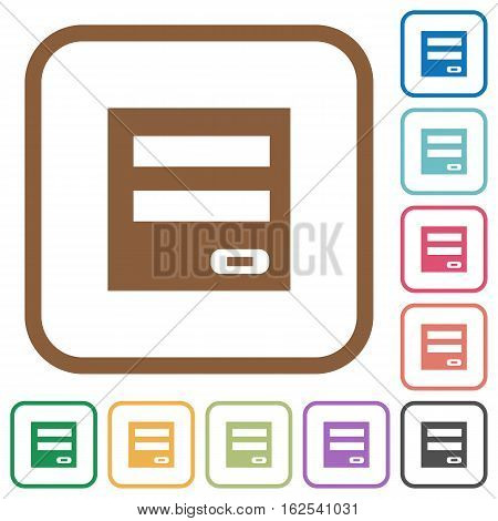 Login panel simple icons in color rounded square frames on white background
