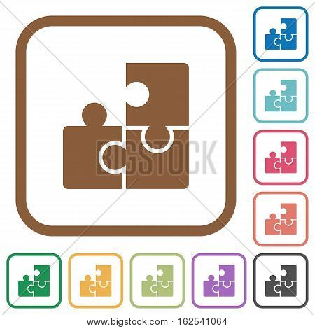 Puzzles simple icons in color rounded square frames on white background