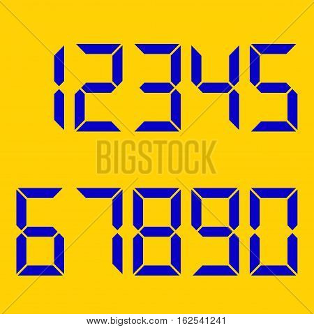 yellow background. numbers blue . Electronic figures . vector illustration .