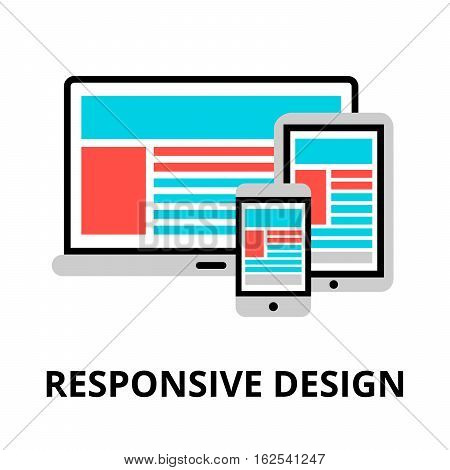 Modern flat editable line design vector illustration concept of responsive design icon for graphic and web design
