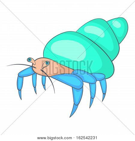 Blue hermit crab icon. Cartoon illustration of crab vector icon for web design