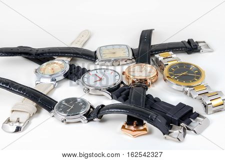 Six different watches shot on a white background