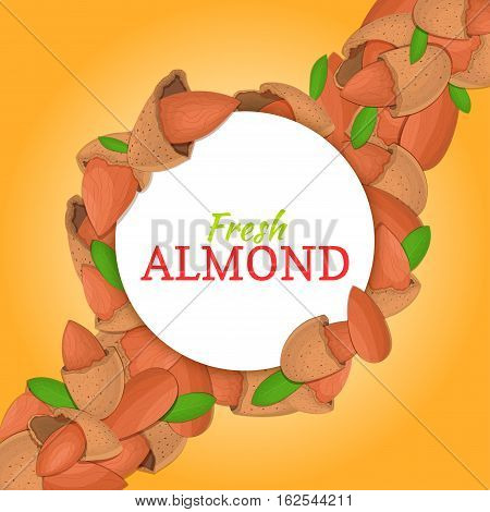 Round white frame on almonds nut diagonal composition background. Vector card illustration. Nuts frame, almonds fruit in the shell, whole, shelled, leaves for packaging design of healthy food, menu