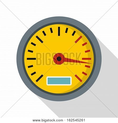 Yellow speedometer icon. Flat illustration of speedometer vector icon for web isolated on white background