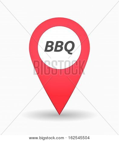 Isolated Map Mark With    The Text Bbq
