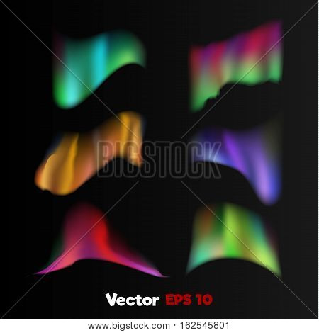 Vector realistic 3d colored bright shiny northern, polar light Weather state, nature phenomenon objects on dark background Web design, decoration element. Banner, print poster objects set.