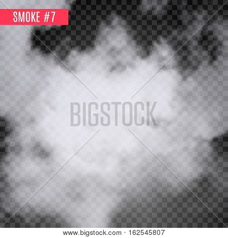 Vector smoke special effect on transparent. Fog isolated design background. Smoky effect