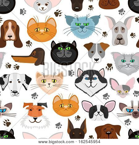Dog and cat seamless pattern. Background with cute pets. Vector illustration
