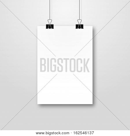 Paper poster pockup design. Paper sheet blank template. Frame on wall portfolio concept. Vector gallery.