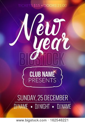 New Year party design banner. Event celebration flyer template bokeh lights. New year festive poster invitation 2017.