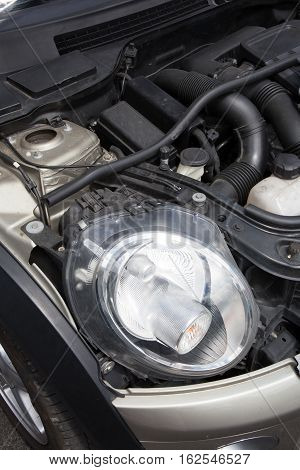 Car Motor Open For Maintenance Or Mechanic In Engine Parts