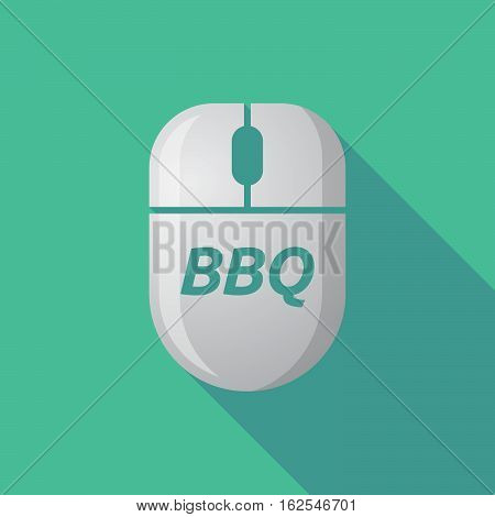 Long Shadow Computer Mouse With    The Text Bbq