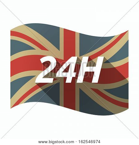 Isolated Uk Flag With    The Text 24H