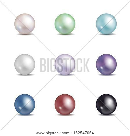 Multicolored pearls. Vector jewellery nacre beads isolated on white background. Set of colored pearl illustration