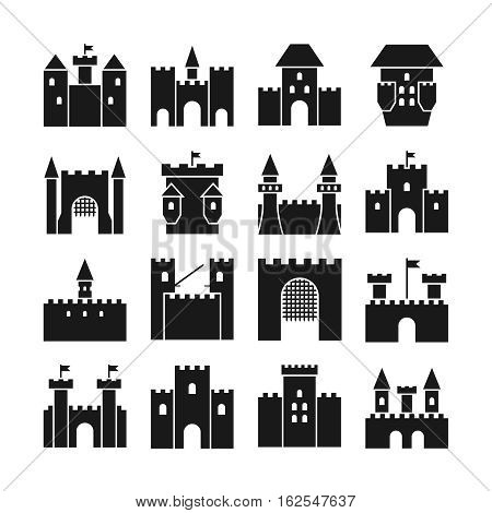 Castle vector icons. Medieval castle walls and gothic tower. Black silhouettes medieval castle building illustration