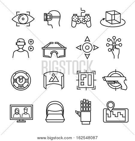 Virtual reality thin line icons. Virtual reality equipment, 3D headset glasses, virtual simulation sensor. Device vr game illustration