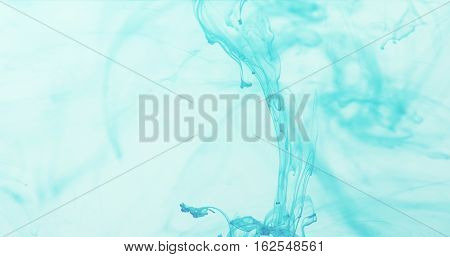 marine blue ink swirl in blue water in 60fps slow motion, 4k photo