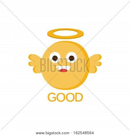 Good Yellow Angel Word And Corresponding Illustration, Cartoon Character Emoji With Eyes Illustrating The Text. Primitive Symbol Emoticon For Messages Flat Vector Icon.