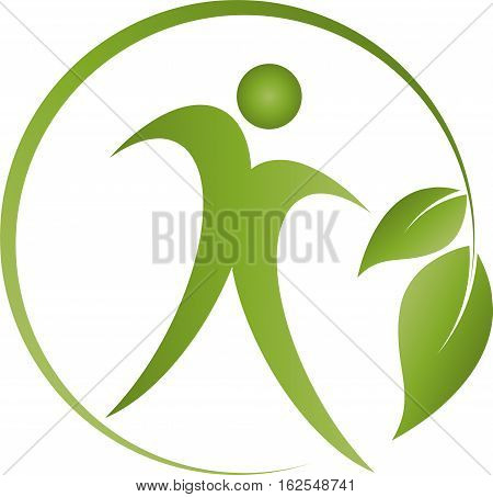 Man and plant, chiropractor and sports medicine logo
