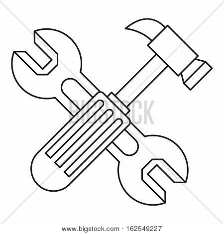 Hammer and wrench icon. Outline illustration of hammer and wrench vector icon for web