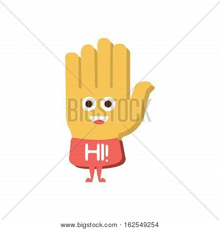 Hi And Greeting Hand, Word And Corresponding Illustration, Cartoon Character Emoji With Eyes Illustrating The Text. Primitive Symbol Emoticon For Messages Flat Vector Icon.