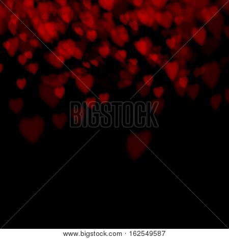 Dark Background with love heart for valentines day and wedding