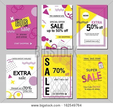 Set of social media sale website and mobile banner templates. Vector banners posters flyers email newsletter ads promotional material. Typography discount card design
