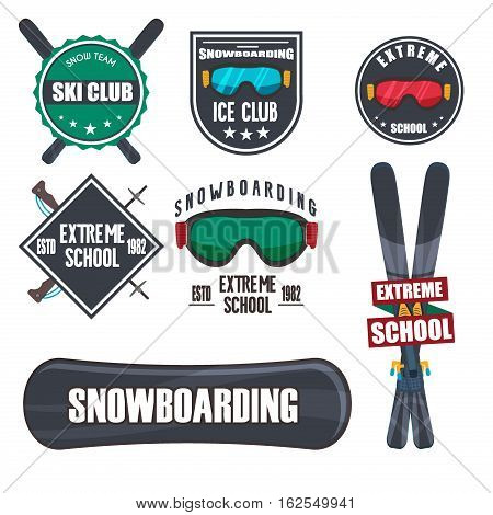 Vintage snowboarding or winter sports logos, badges, emblems design. Vector ski logo. Winter snowboard sport store badge. Snowboarder mountain adventure insignia. Snowboarding extreme label.