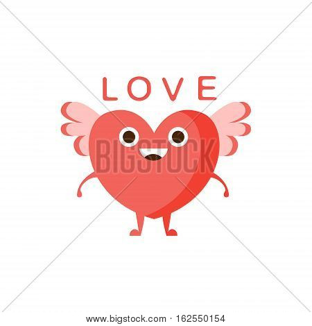Love And Winged Heart, Word And Corresponding Illustration, Cartoon Character Emoji With Eyes Illustrating The Text. Primitive Symbol Emoticon For Messages Flat Vector Icon.