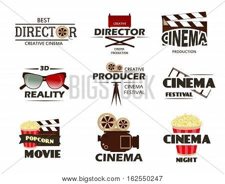 Cinema vector symbols and retro emblems collection. Set of cinema labels and logo movie video entertainment. Multimedia film symbol design and movie production creative elements.