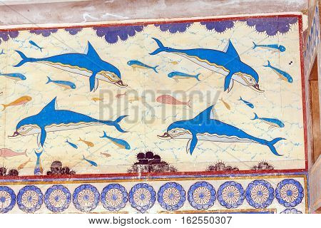Heraklion, Greece - August 3, 2012: The Famous Fresco Of Dolphins From The Walls Of The Palace Of Kn