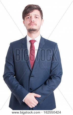 Handsome Man Wearing Suit Standing Serious