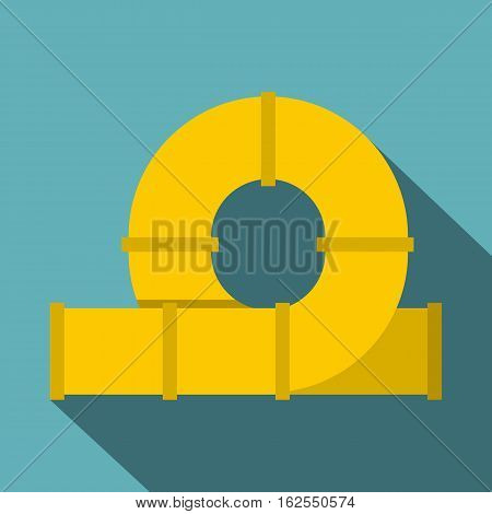 Yellow playground slider icon. Flat illustration of playground slider vector icon for web isolated on baby blue background
