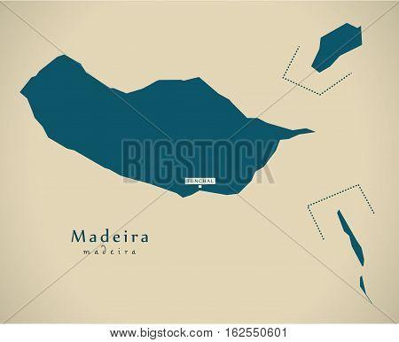 Modern Map - Madeira Portugal Pt Illustration