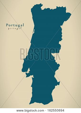 Modern Map - Portugal Pt Country Silhouette Illustration