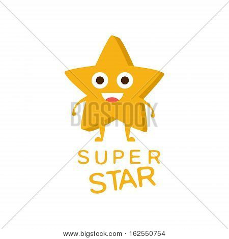 Super Star Word And Corresponding Illustration, Cartoon Character Emoji With Eyes Illustrating The Text. Primitive Symbol Emoticon For Messages Flat Vector Icon.