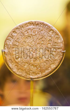 Heraklion, Greece - August 3, 2012: Tourists Exploring The Exhibition Of Archaeological Museum Of He