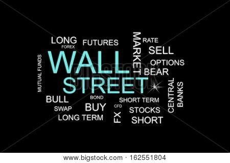 wall street words in a financial concepts background