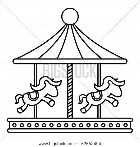 Vintage carousel with horses icon. Outline illustration of vintage carousel with horses vector icon for web