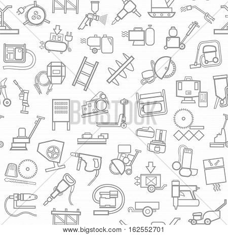 Construction equipment and tools, seamless background, white, contour. Vector background with images of equipment for construction and repair. Gray, linear pictures on a white field.