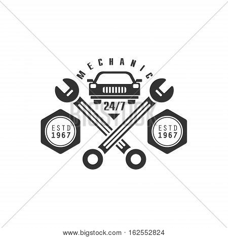 Car Repair Workshop Black And White Label Design Template With Crossed Wrenches. Monochrome Vector Emblem For Auto Mechanic Service In Classic Stamp Style.