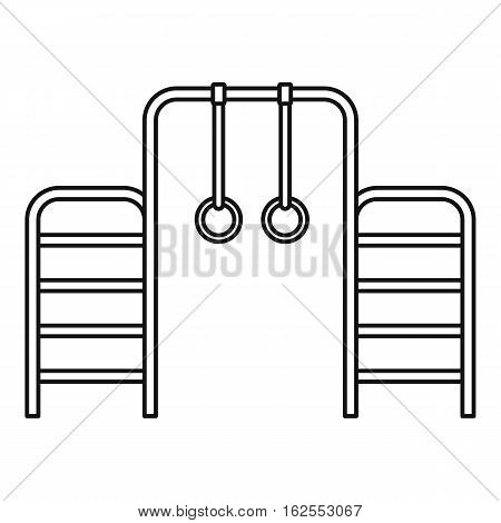 Gymnastics rings and ladder icon. Outline illustration of gymnastics rings and ladder vector icon for web