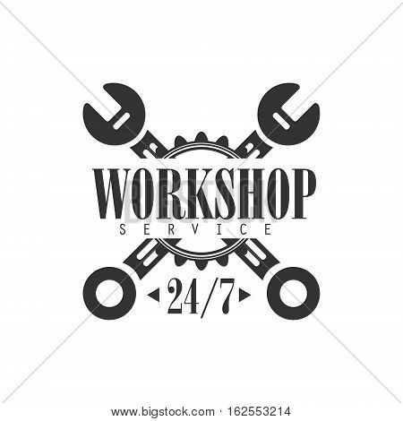 Round The Clock Car Repair Workshop Black And White Label Design Template With Crossed Wrenches. Monochrome Vector Emblem For Auto Mechanic Service In Classic Stamp Style.