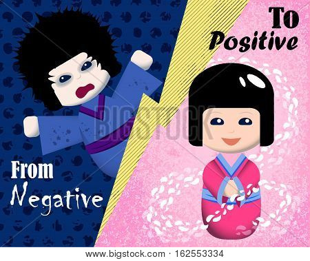 From negative to positive emotion vector illustration. Mood booster concept image. Japanese traditional kokeshi dolls in kimono. Emotional intelligence card. Emotional management or mindfulness banner